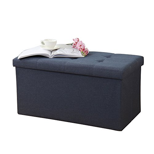 "soges 30""x15"" Folding Storage Ottoman, Storage Bench Footrest Seat Toys Collection, Linen Fabric, Midnight Blue ALL-2001-4"