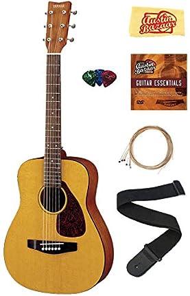 Yamaha JR1 1/2 escala Mini guitarra acústica Bundle con cuerdas, púas, DVD instructivo Austin Bazar y paño de pulido