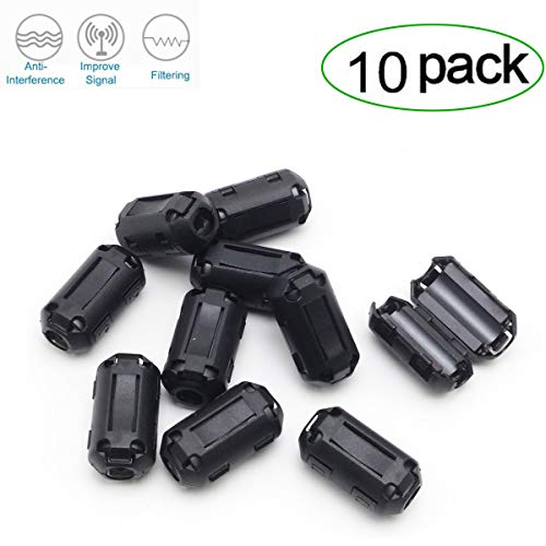 Topnisus [Pack of 10] Clip-on Ferrite Core Ring Bead Anti-Interference High-Frequency Filter RFI EMI Noise Suppressor Cable Clip (5mm Inner Diameter)