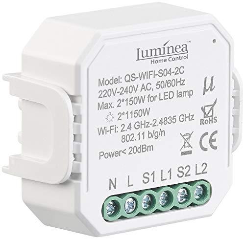Luminea Home Control WiFi: WLAN-Unterputz-2-Kanal-Lichtschalter mit App & Sprachsteuerung (2kanal Lichtschalter)