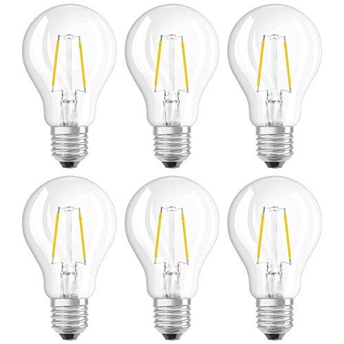 Osram Ampoule LED Filament, Forme Classique, Culot E27, 1,2W Equivalent 15W, 220-240V, claire, Blanc Chaud 2700K, Lot de 6 pièces