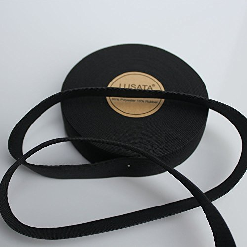 lusata 1 inch Wide Black Knit Elastic Spool Heavy Stretch High Elasticity Knit Elastic Band 10 Yard