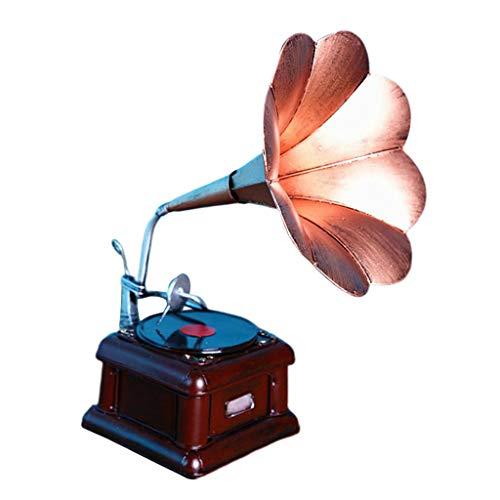 FLAMEER Vintage Grammophon Modell Eisenmodell Metall Trichter Grammofo Miniatur Dekoration Sammlung Bar Ornament - Bronze