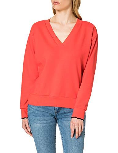 Scotch & Soda Maison Damen V-Ausschnitt und gewellten Bündchen Sweatshirt, 0117 Raspberry, XL