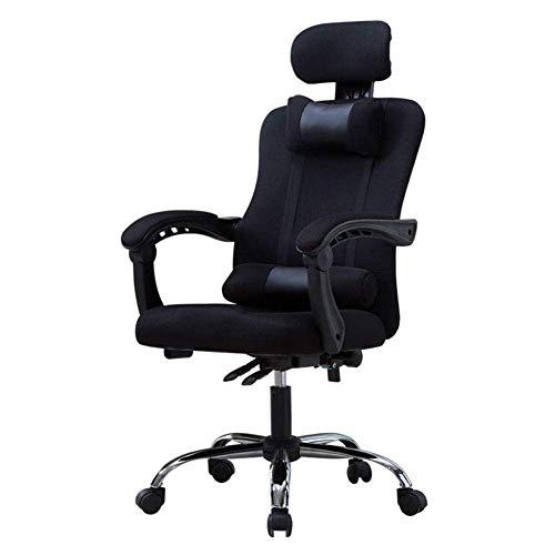 WSDSX Büro Executive Chair, Ergonomische Aufgabe Computerspielnetz Verstellbare Liege Klapparme Schwenkbare Stütze Kopfstütze Lendenwirbelsäule, 52x53x45-53cm-schwarz