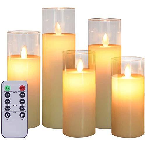 Aku Tonpa 5 Stück Flammenlose Kerzen batteriebetrieben flackernde Stumpenkerze LED Glas Kerze Set mit Fernbedienung Timer für Dekorationen