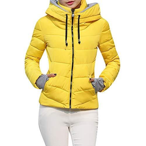SEWORLD Winterjacke Damen Wintermantel Lange Daunenjacke Jacke Dicke Oberbekleidung Kapuzenmantel Kurze,34 DE/M CN