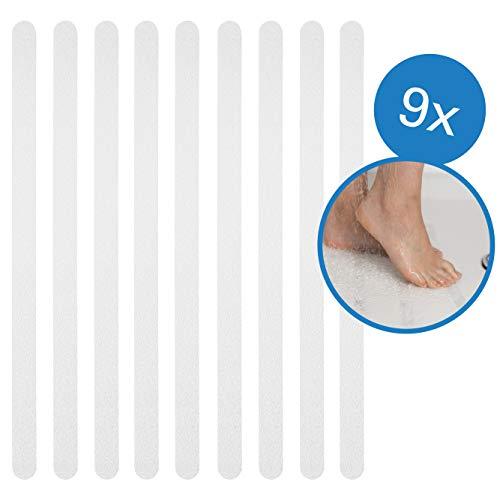BAMONDO Anti Rutsch Streifen für mehr Sicherheit 9 Stück - Antirutsch Selbstklebend & Transparent für Bad, Dusche und Treppen. Rutschschutz Bad, Antirutsch Dusche, Antirutsch Badewanne.