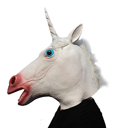 ifkoo White Horse Unicorn Mask Deluxe Novelty Halloween Costume Party Latex Animal Head Mask