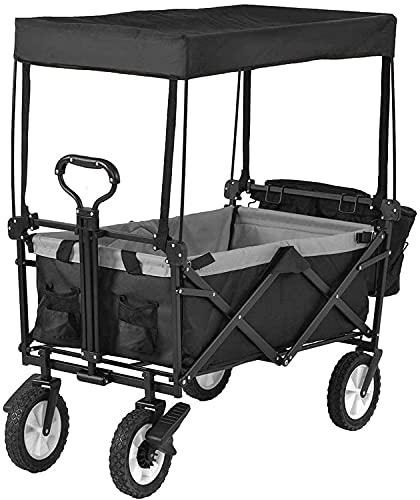 Yongqin Trädgårdsvagn 168 hopfällbar campingvagn, bärbar trädgårdsvagn med 4 hjul, bärbar sänghimmel hopfällbar trädgårdsvagn dra vagn handvagn utomhus verktyg trädgård kundvagn rullstång