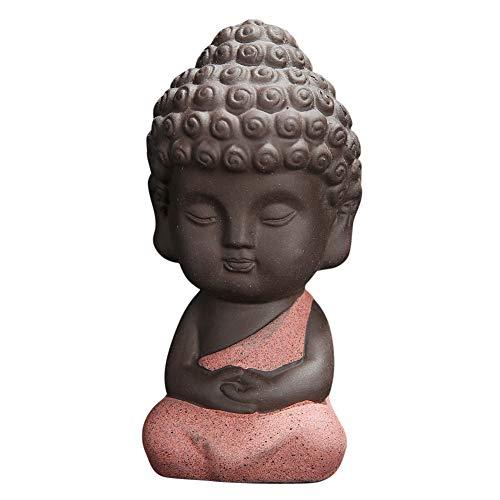 Snobbery Cute Small Buddha Statue Monk Figurine tathagata India Yoga Mandala Sculptures (Pink)