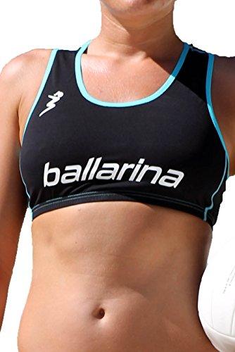 ballarina Beachvolleyball Player Top, schwarz-Scuba Blue (L)