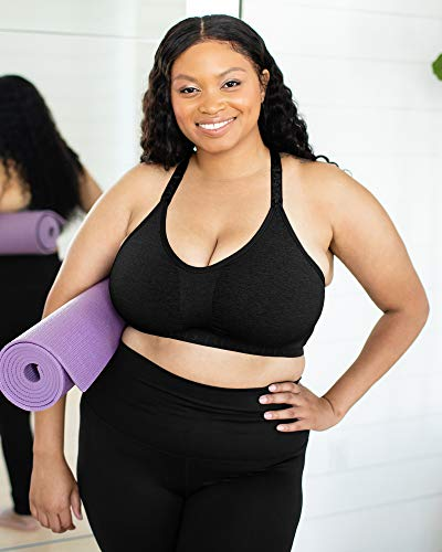 Kindred Bravely Sublime Busty Low Impact Nursing & Maternity Sports Bra for F, G, H, I Cup (Black, Medium)
