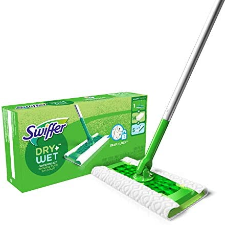 Swiffer Sweeper Dry Wet All Purpose Floor Mopping and Cleaning Starter Kit with Heavy Duty Cloths product image