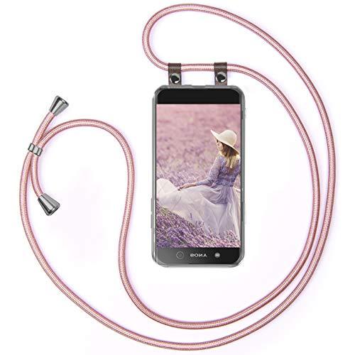 moex Handykette kompatibel mit Sony Xperia XA1 - Silikon Hülle mit Band - Handyhülle zum Umhängen - Hülle Transparent mit Schnur - Schutzhülle mit Kordel, Wechselbar in Rosegold