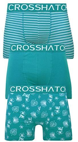Crosshatch Stylefour Herren Boxershorts (3er-Pack) Multipack Unterwäsche Geschenkset Gr. XXL, Hovland - Tropisches Grün