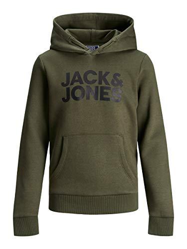 JACK & JONES Sweat à capuche avec logo Jjecorp Noos Jr pour garçon - Kaki- 152 cm