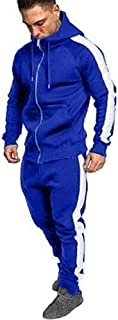 Men's Hooded Athletic Tracksuit Full Zip Casual Jogging Gym Sweat Suits - Men Zipper Sweatshirt Top Pants Sets Sports Suit Tracksuit Muscle Hoodie