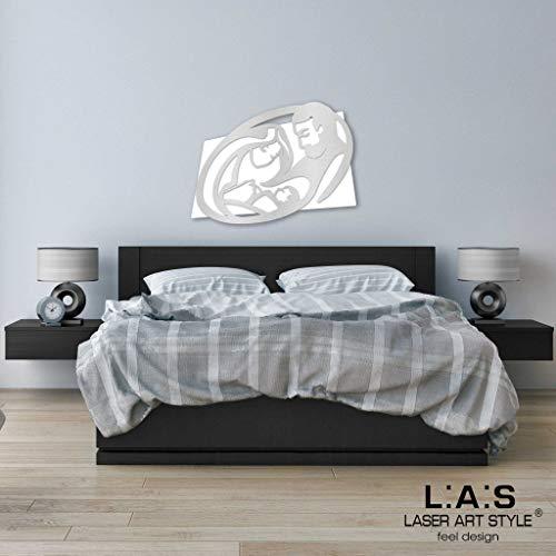 L:A:S Laser Art Style Quadro Capezzale Sacra Famiglia Moderno per Camera da  Letto, Legno, Bianco-Argento, 65 x 50 cm