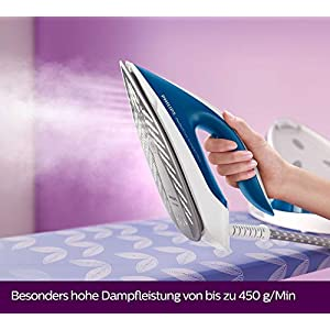 Philips GC7929/20 Dampfbügelstation PerfectCare Compact Plus (2400 W, Optimal TEMP, 6,5 bar Dampfdruck, 450 g/Min. Dampfstoß, 1,5L Wassertank) blau