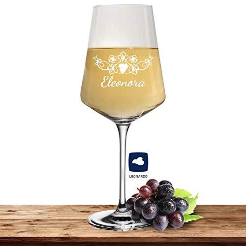 Leonardo Weißweinglas mit Namen oder Wunschtext graviert, 560ml, PUCCINI, personalisiertes Premium Weinglas in Gastroqualität (Weinrebe)