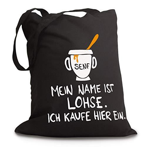 Schwarzer Jutebeutel Mein Name IST LOHSE