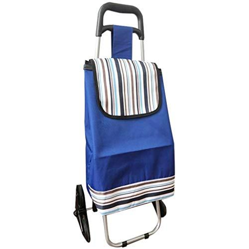 LQBDJPYS Handkarre / Handwagen / Einkaufswagen / Gepäckwagen mit zwei Rädern, faltbarer Bollerwagen, tragbarer Anhänger, Eisenrohr/wasserdichter Oxford-Stoff, kleine Gepäcktaschen (Farbe: blau)