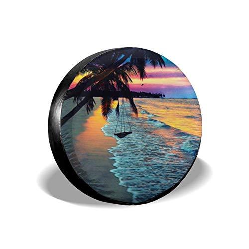 Coconut Beach Sunset Hängematte Ersatzreifenabdeckung wasserdichte UV-Sonnenradabdeckungen Passend für Jeep, Anhänger, Wohnmobil, SUV 16 Zoll