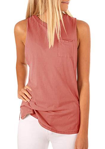 Women's High Neck Tank Top Sleeveless Blouse Plain T Shirts Pocket Cami Summer Tops