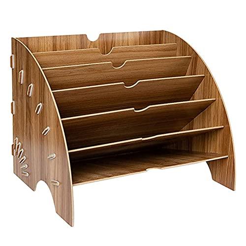 Bandeja de archivos de madera multifuncional para oficina de documentos, carta, revista, organizador de almacenamiento