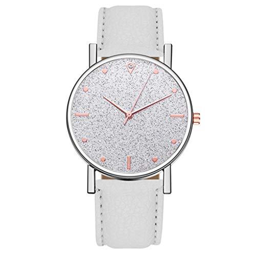 Fenverk Unisex Armbanduhr Damen-Uhr Herren-Uhr, Analog Display, Quarzwerk, Kunst-Leder-Armband, Chronograph-Optik(White)