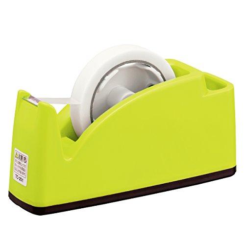 プラス テープカッター ペン立てポケット付き TC-201 ライトグリーン 31-242
