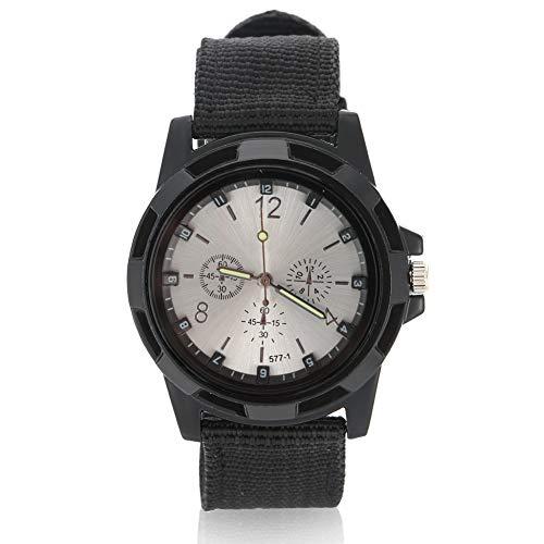 Orologi da uomo, Orologio da polso analogico elettronico, cinturino militare in nylon con cinturino rotondo(Silver Dial)