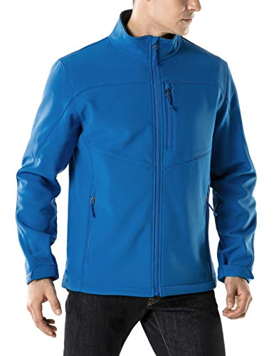 TSLA Men's Full-Zip Softshell Jacket, Water Repellent Fleece Lined Athletic Jacket, Outdoor Sport Windproof Jackets, Active Softshell(ykj80) - Blue, X-Small