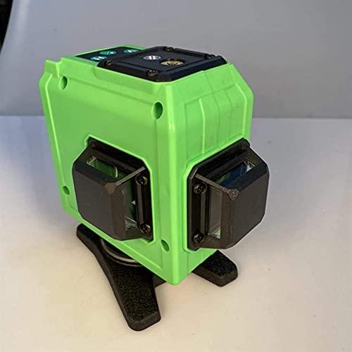 Nivel láser 3D 4X 360 °, Nivel de láser autonivelante de viga Verde, Medida Oblicua, 12 líneas, IP54 Impermeable, Soportes, líneas Verticales de 90 °, Control Remoto