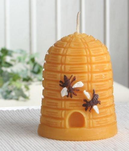 Bienenkorb-Kerze mit 10% reinem Bienenwachs, 10 x 7,5 cm Ø