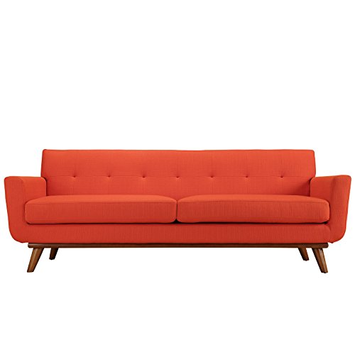 Modway Engage Mid-Century Modern Upholstered Fabric Sofa In Atomic Red