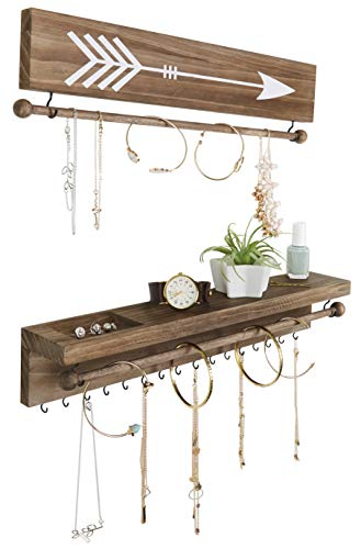 SoCal Buttercup Rustic Necklace and Jewelry Organizer - Hanging Wall Mount Display - Mounted Wooden Holder for Earrings, Necklaces, Bracelets, and Many Other Accessories (Two Piece, Rustic)