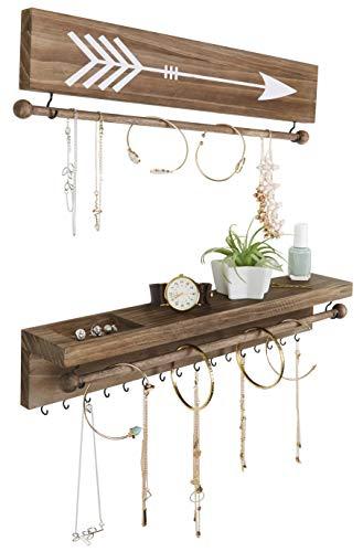 SoCal Rustikale Halsketten- und Schmuck-Organizer zum Aufhängen, Wandmontage, Holzhalter für Ohrringe, Halsketten, Armbänder und viele andere Accessoires (zweiteilig, rustikal)