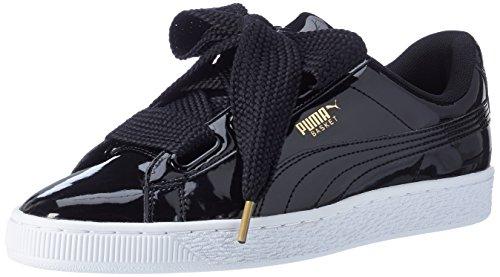 Puma Damen Basket Heart Patent Fußballschuhe, Schwarz Black Black, 36 EU
