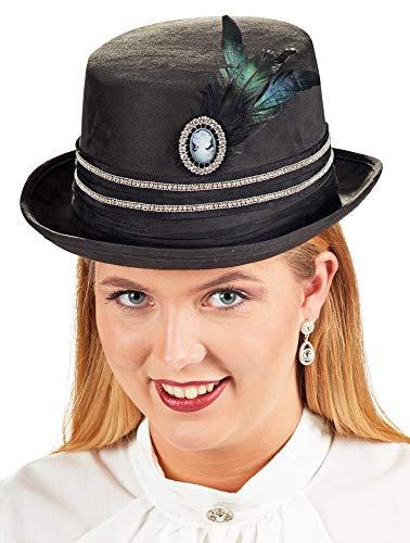 Zylinder Hut Diamond mit Kamee Brosche und Federn für Damen - Schwarz - Zubehör Kostüm Lady 19. Jahrhundert Renaissance Fasching Mottoparty
