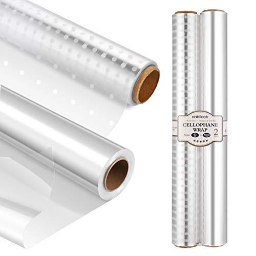 Cabilock Cellophan Wrap Roll Geschenkpapier Klares Cellophan Geschenkfolie (43CM x 30M 3.0 Mil) Transparent Geschenkverpackung White Dot Florist Papierverpackung für Körbe Geschenke(2Roll)
