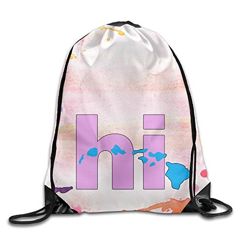 JIMSTRES Hawaii Hi & Map I love hawaii Drawstring Backpack String Bag