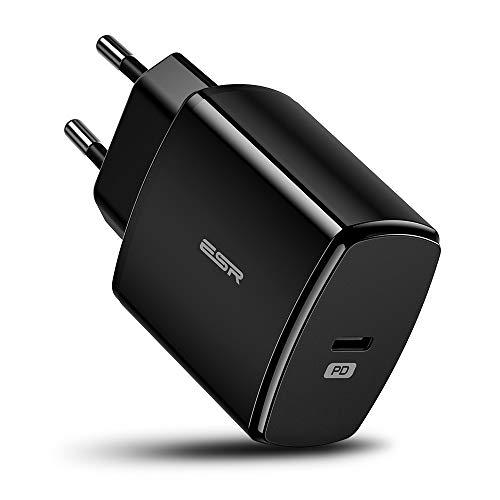 ESR Cargador USB C 18W Power Delivery 2.0, Carga Rápida para iPhone SE/11/11 Pro/11 Pro MAX/XR/XS/XS MAX/X, Galaxy S20/S20+/S10/S10+/S10e/S9/S9+/Note10,iPad Pro 2020/2018, iPad Air 10.5, Airpods Pro