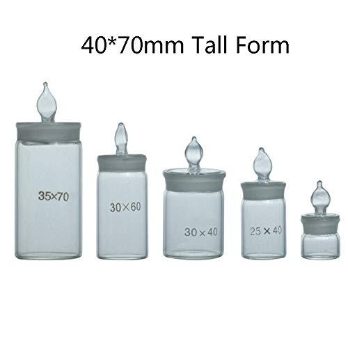 DADAKEWIN Lab Pesafiltro 40 * 70mm, Forma Alta, Borosilicato 3.3 di Vetro, Terra Bocca di Vetro Sigillato Display del Campione Vetro Spesso Lab Bottiglie- Confezione da 3 (Size : Tall Form 40 * 70mm)