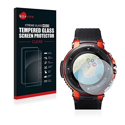 savvies Pellicola Vetro Temperato Compatibile con Casio PRO Trek Smart WSD-F30 Protezione Protettivo Schermo Glass Durezza 9H