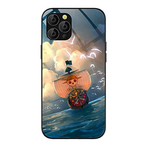 Phone Case Compatible with iPhone 12/ iPhone 12 Pro, Anime One Piece Thousand Sunny PatternDesign Tempered GlassBack CoverPhone Cases 6.1 inch 5G (2020)