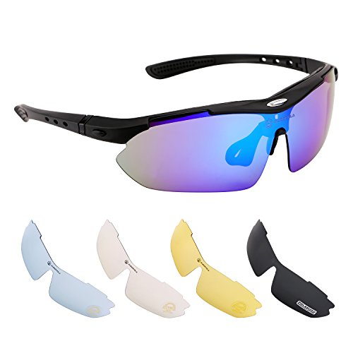 AUROPOLA Polarized Sports Sunglasses for Men Women, Cycling Running Driving Sunglasses with 5 Interchangeable Lenses for Outdoor Activities