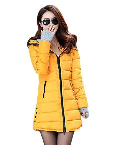 ZEVONDA Gewatteerde winterjas voor dames, lichte jas, lange parka, warm gevoerde winterjas met capuchon, grote maat