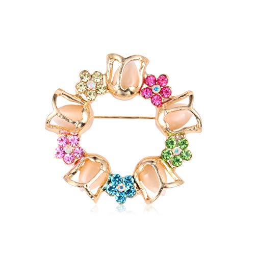 KXHZJM goud kleur vergulde regenboog kristal bloem slinger broche pinnen voor vrouwen mode kostuum juwelen200